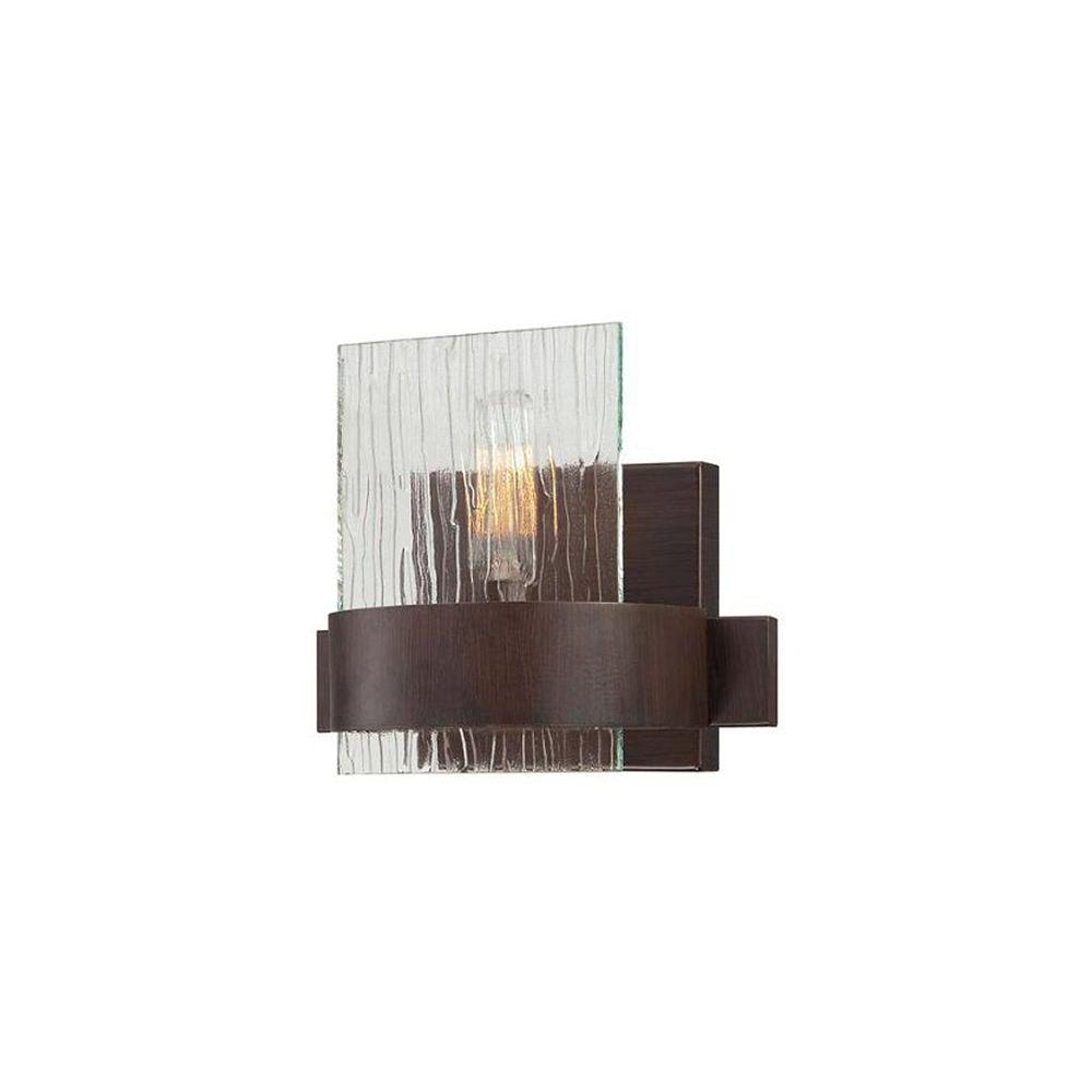 Illumine Satin 1 Light Bronze Incandescent Wall Sconce With MultiColour Glass