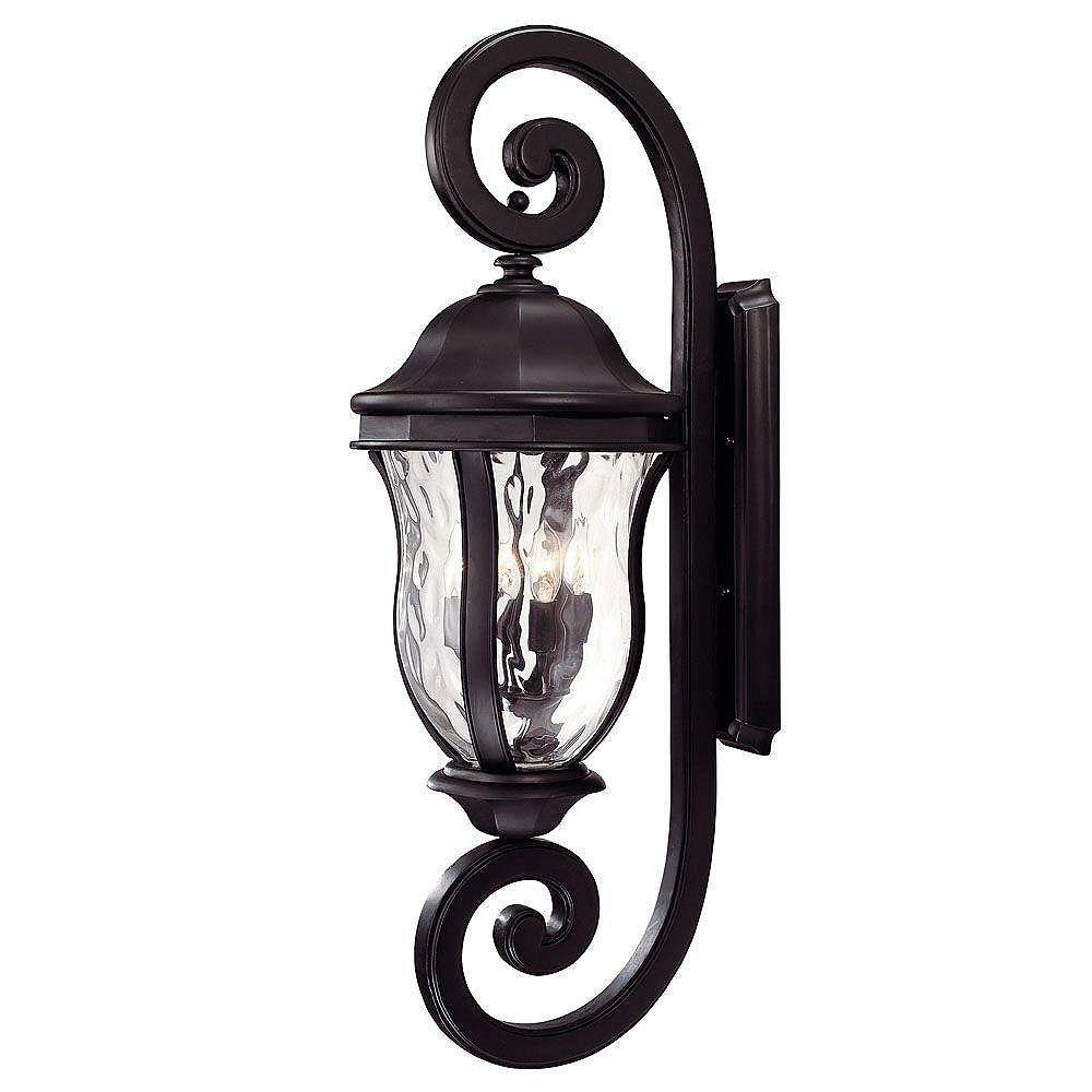 Illumine Satin 4 Light Black Halogen Outdoor Wall Mount With Clear Glass