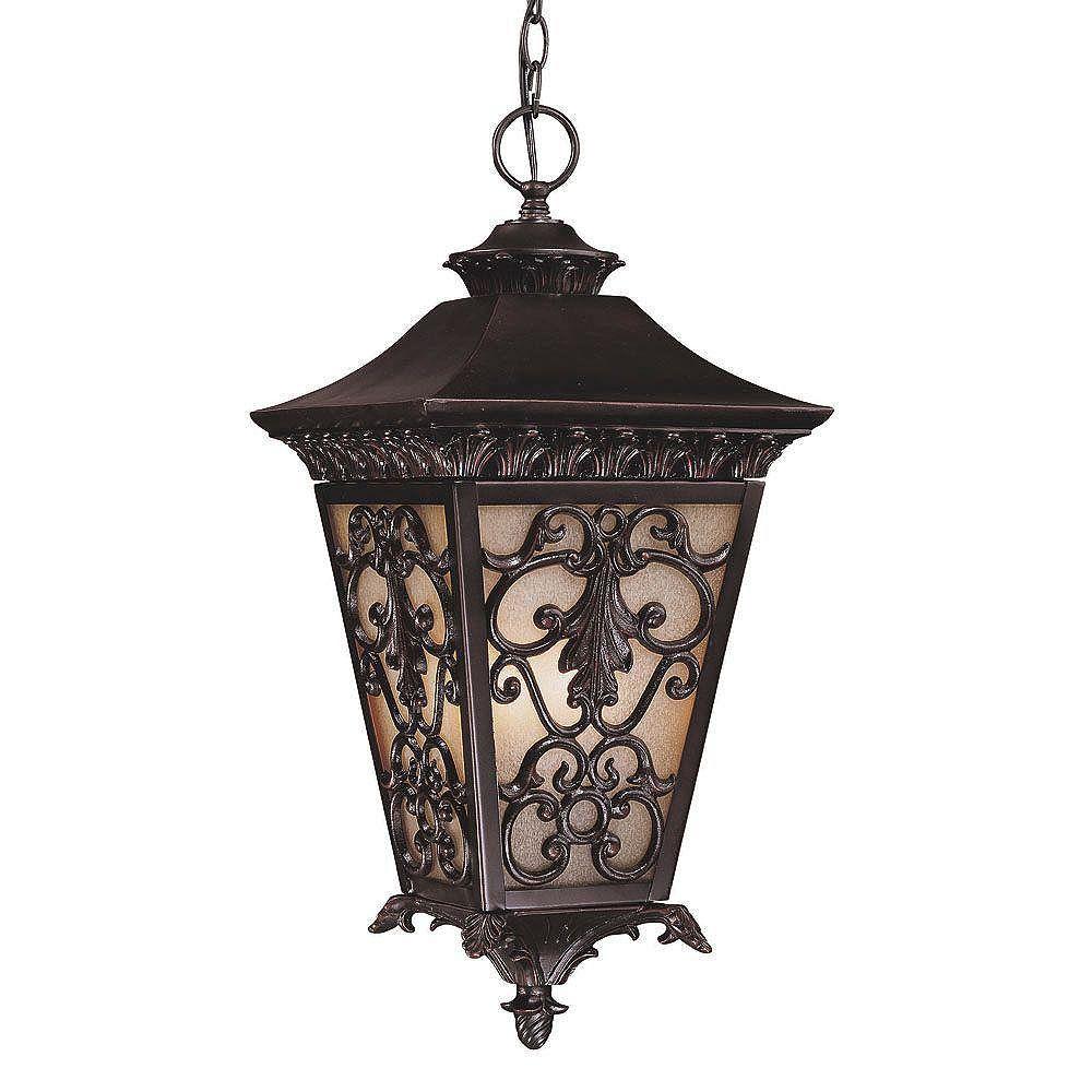 Illumine Satin 3 Light Black Incandescent Outdoor Post Lantern With MultiColour Glass