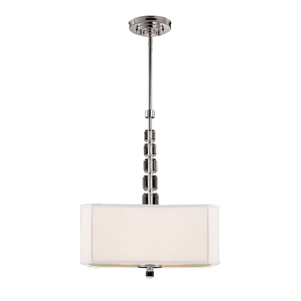 Illumine Satin 4 Light Nickel Incandescent Pendant With White Square Fabric Glass