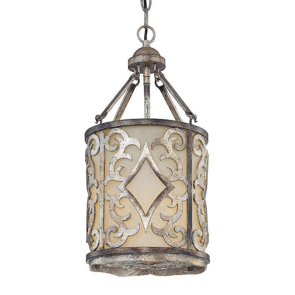 Illumine Satin 1 Light Silver Incandescent Pendant With White Glass