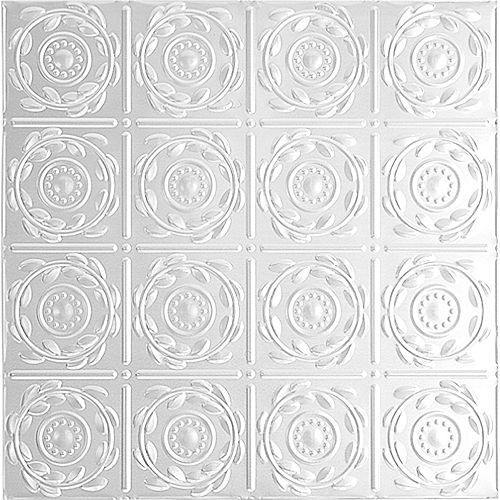 2 Feet x 2 Feet White Finish Steel Lay-In Ceiling Tile Design Repeat Every 6 Inches