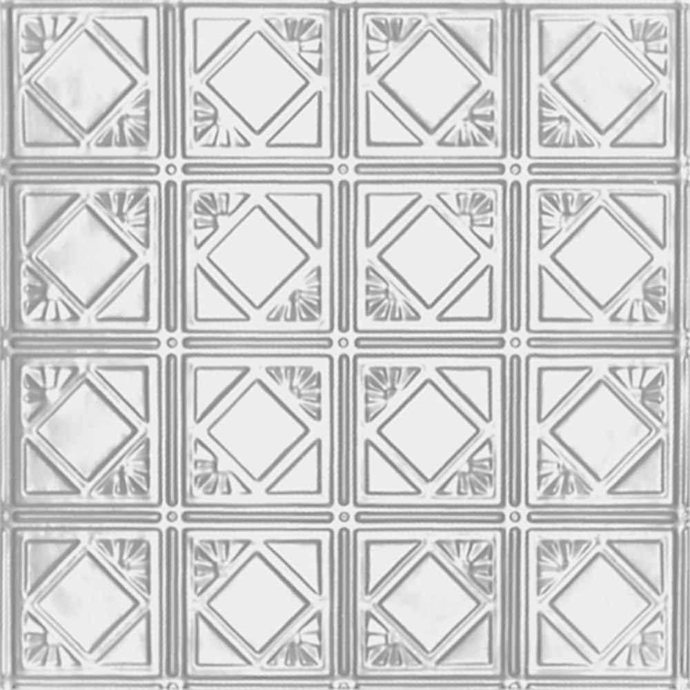 Shanko 2 Feet x 4 Feet White Finish Steel Nail-Up Ceiling Tile Design Repeat Every 6 Inches