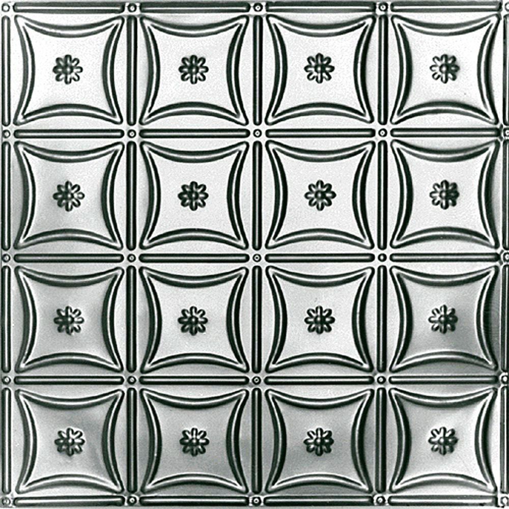 Shanko 2 Feet x 2 Feet Steel Silver Lay-In Ceiling Tile Design Repeat Every 6 Inches