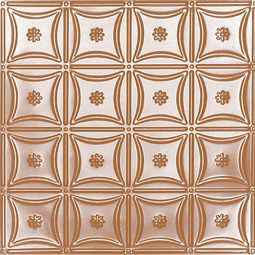 Carreau de plafond en acier plaqué cuivre à motif répété aux 6 pouces et installation encastrée 2 pi x 2 pi