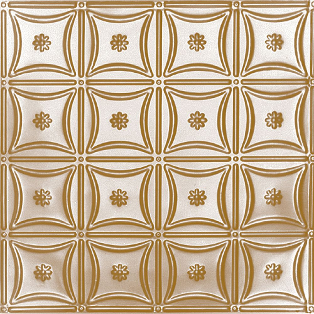 Shanko 2 Feet x 2 Feet Brass Plated Steel Lay-In Ceiling Tile Design Repeat Every 6 Inches