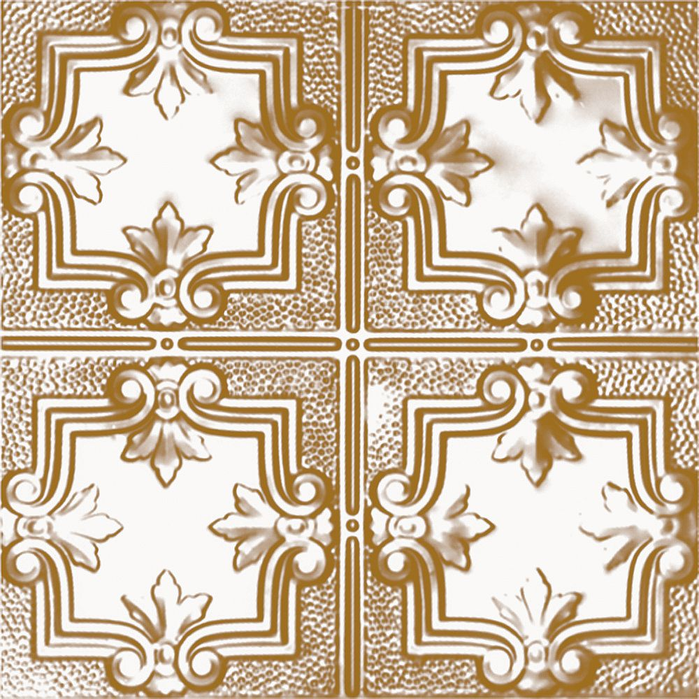 Shanko 2 Feet x 4 Feet Brass Plated Steel Nail-Up Ceiling Tile Design Repeat Every 12 Inches