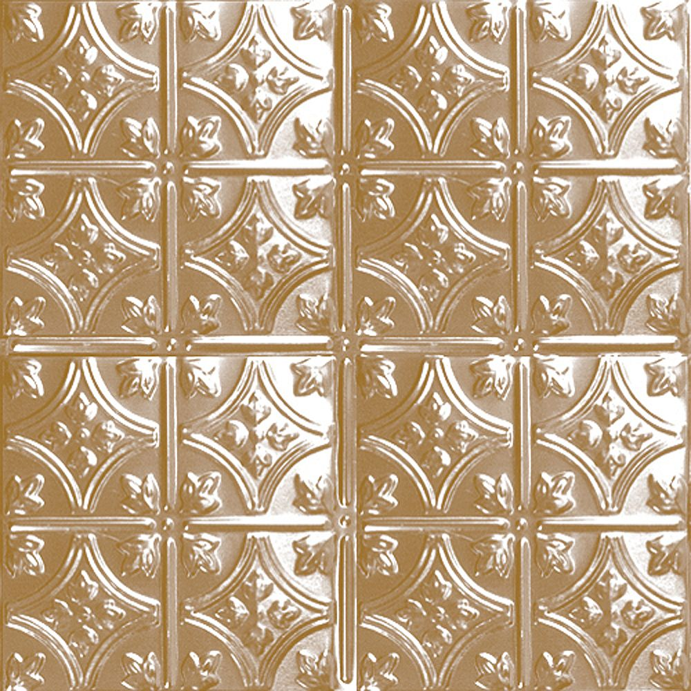 Shanko 2 Feet x 2 Feet Brass Plated Steel Lay-In Ceiling Tile Design RepeatEvery 6 Inches