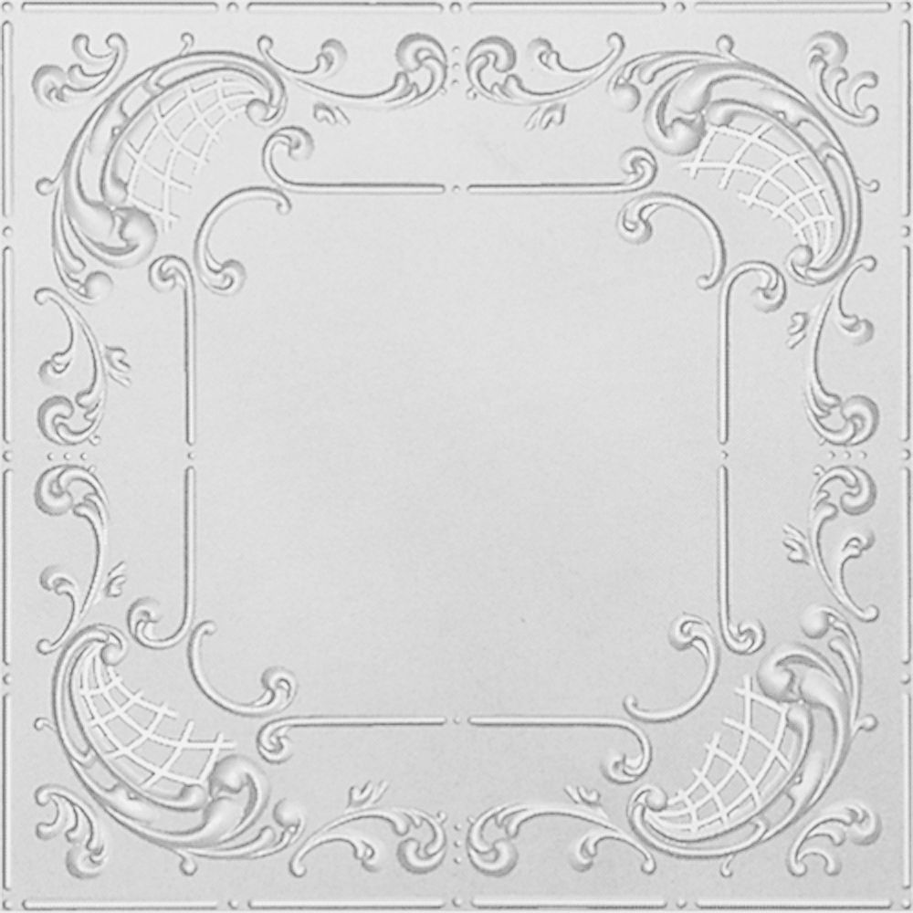 Shanko 2 Feet x 4 Feet White Finish Steel Nail-Up Ceiling Tile Design Repeat Every 24 Inches