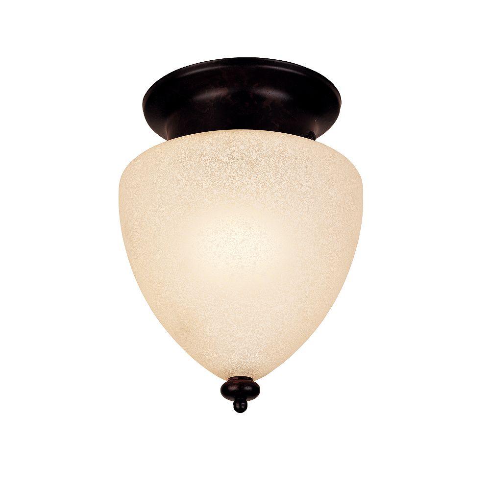 Illumine Satin 1 Light Bronze Halogen Flush Mount With White Glass