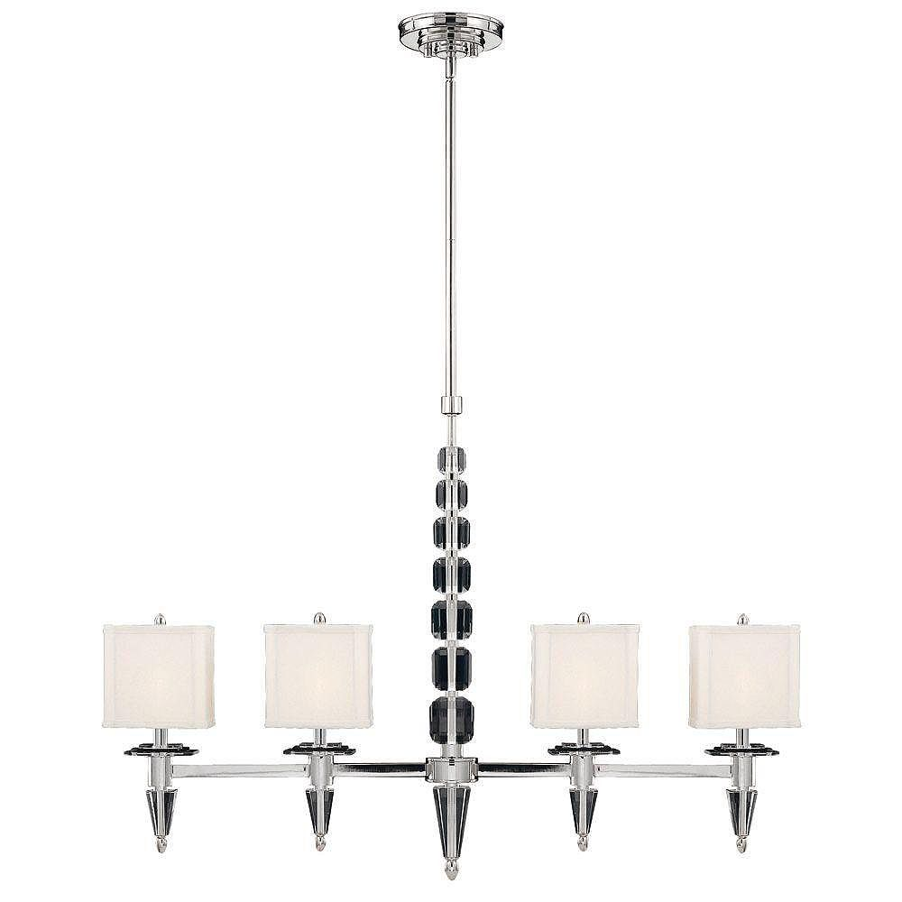 Illumine Satin 4 Light Nickel Incandescent Island Light With White Square Fabric Glass