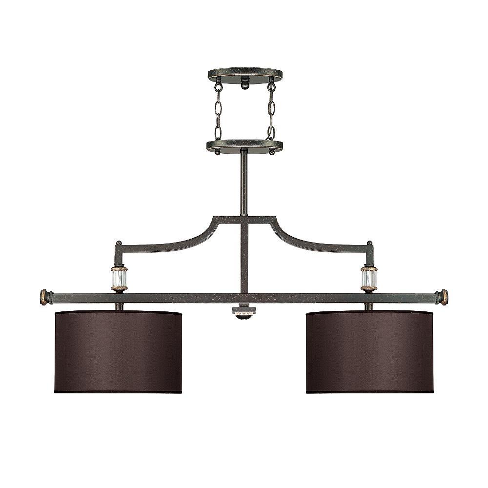 Illumine Satin 2 Light Bronze Incandescent Island Light With Charcoal Fabric Glass