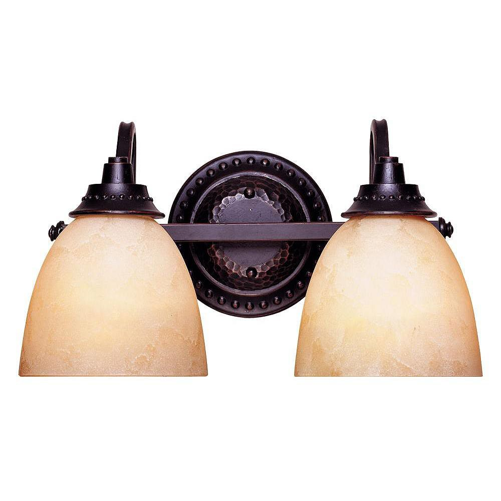 Illumine Satin 2 Light Black Incandescent Bath Bar With White Glass