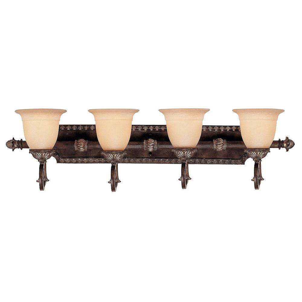 Illumine Satin 3-Light Bronze Bath Bar with White Glass