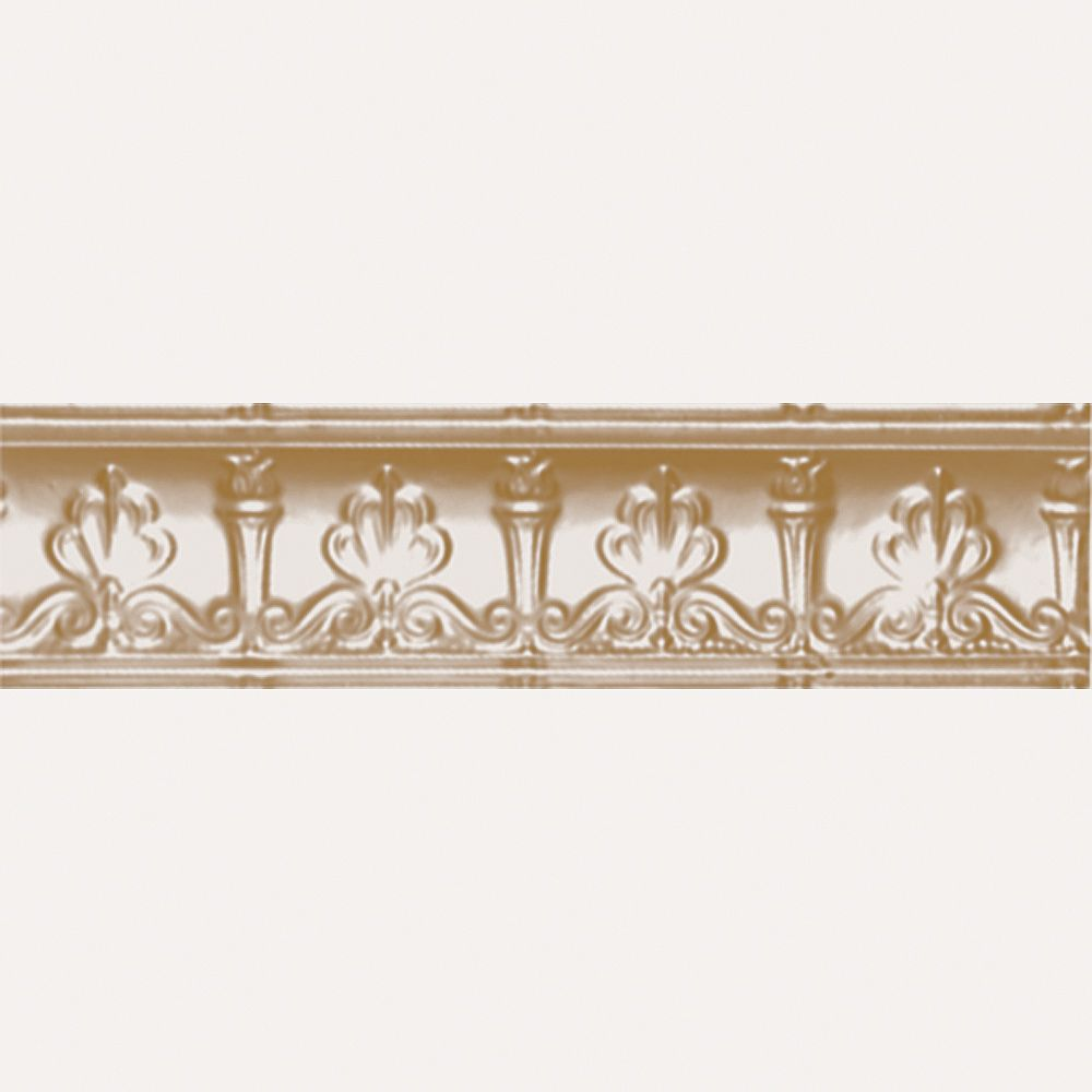 Shanko Brass Plated Steel Cornice 4  Inches  Projection x 4  Inches  Deep x 4 Feet Long