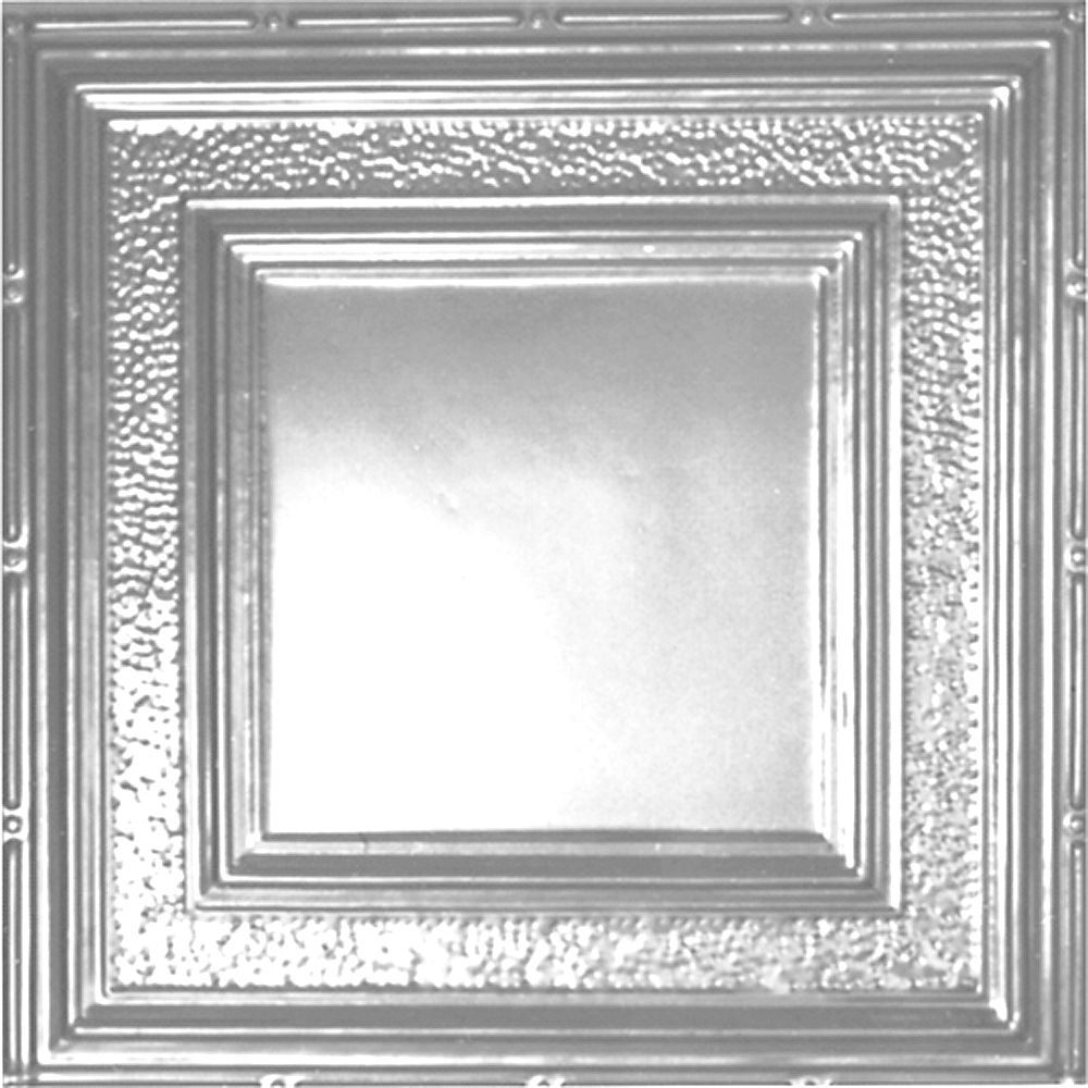 Shanko 2 Feet x 4 Feet Chrome Plated Steel Finish Nail-Up Ceiling Tile Design Repeat Every 24 Inches
