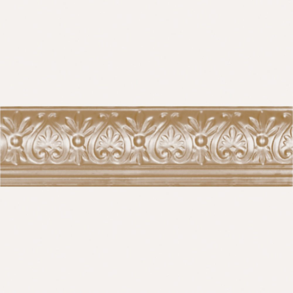 Shanko Brass Plated Steel Cornice 6.25  Inches  Projection x 6 5/8  Inches  Deep x 4 Feet Long