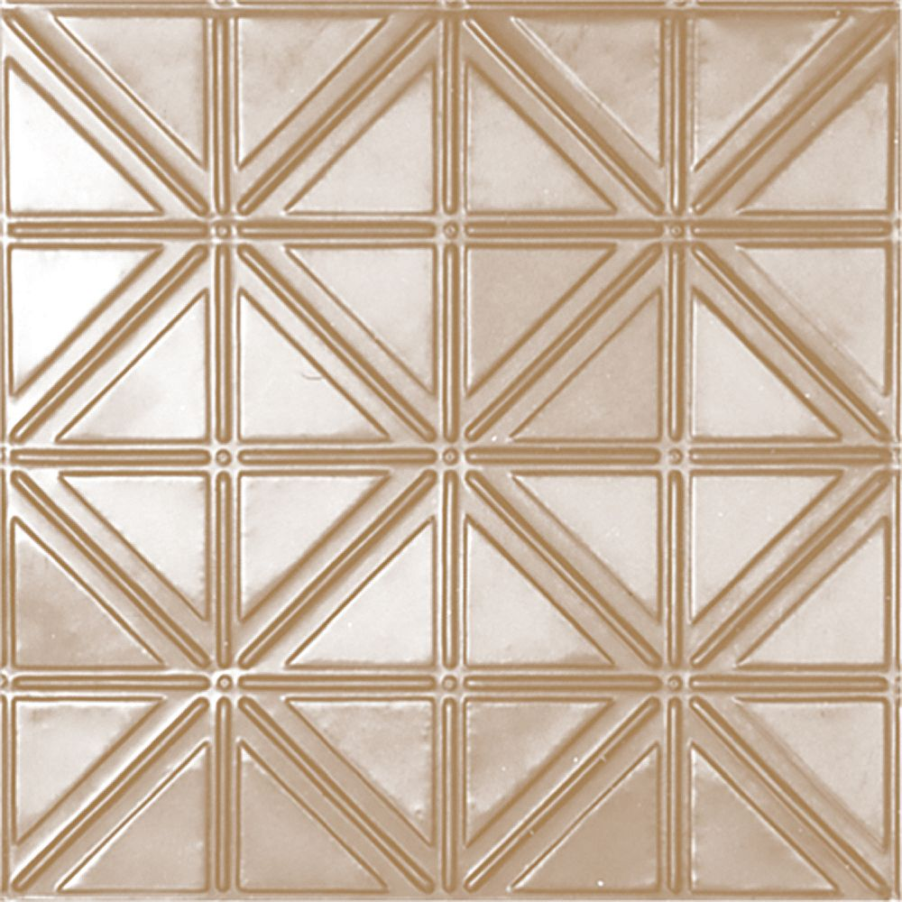 Shanko 2 Feet x 4 Feet Brass Plated Steel Nail-Up Ceiling Tile Design Repeat Every 6 Inches