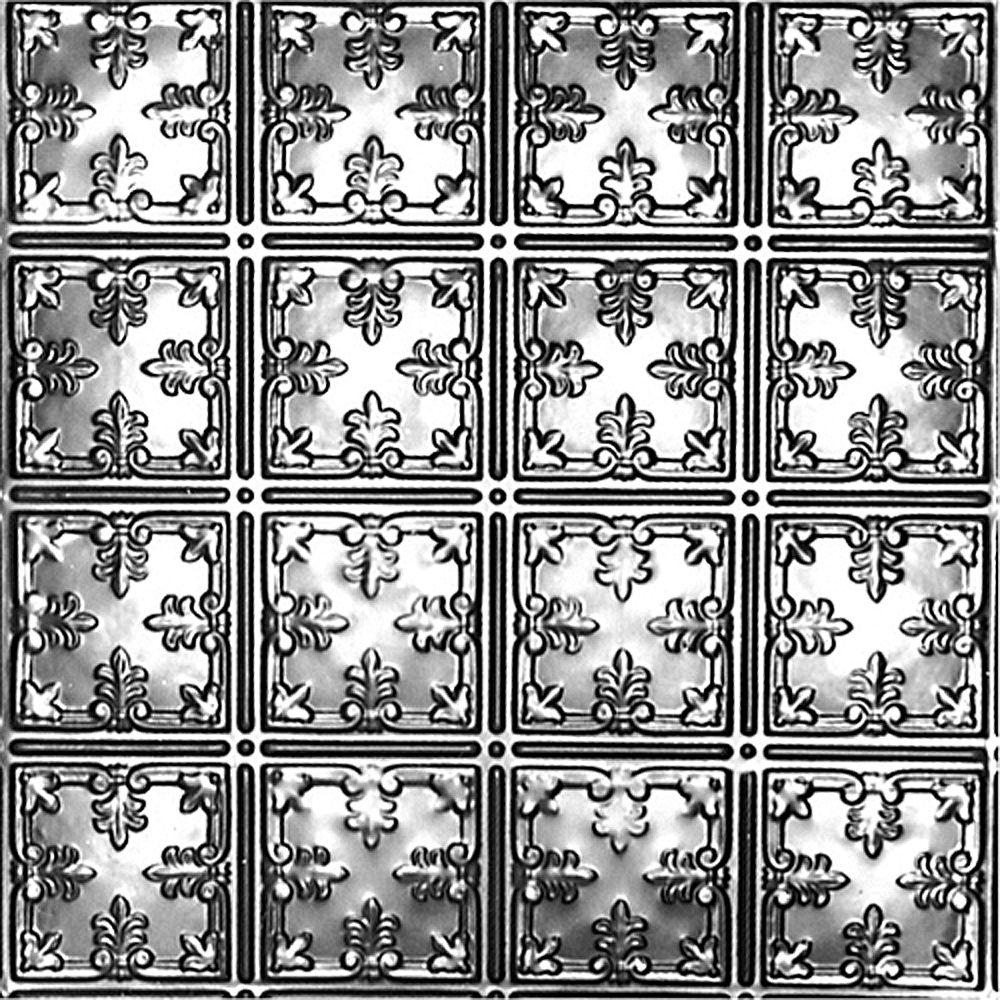 Shanko 2Feet X 2Feet Steel Silver Lay-In Ceiling Tile Design Repeat Every 6 Inches