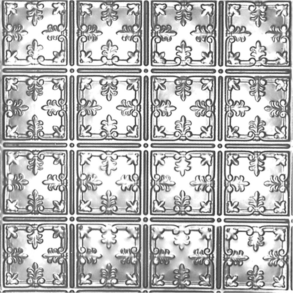 Shanko 2 Feet x 2 Feet Chrome Plated Steel Lay-In Ceiling Tile Design Repeat Every 6 Inches