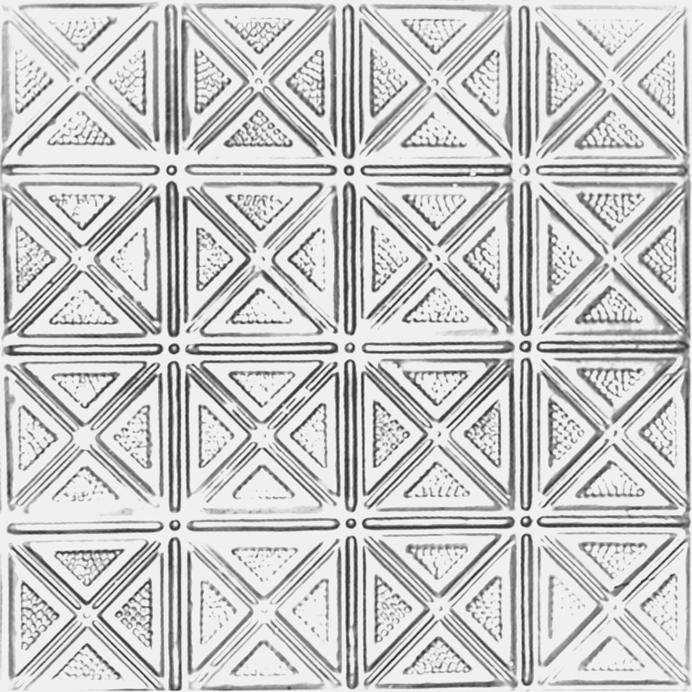 Shanko 2 Feet x 4 Feet Chrome Plated Steel Nail-Up Ceiling Tile Design Repeat Every 6 Inches