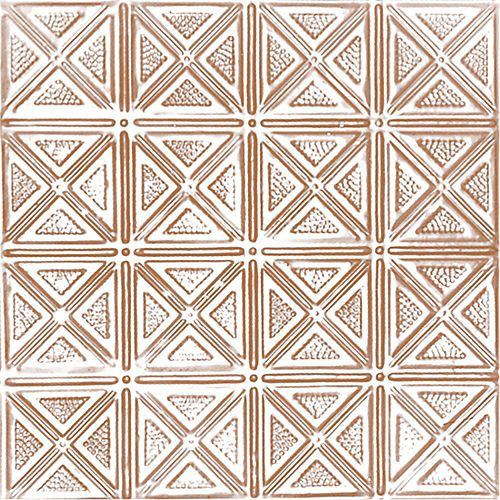 Shanko 2 Feet x 4 Feet Copper Plated Steel Nail-Up Ceiling Tile Design Repeat Every 6 Inches