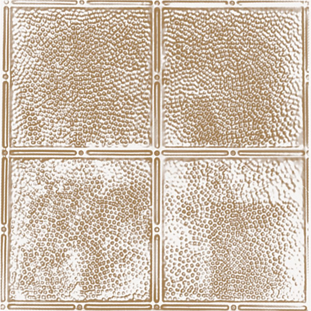 Shanko 2 Feet x 4 Feet Brass Plated Steel Finish   Nail-Up Ceiling Tile Design Repeat Every 12 Inches
