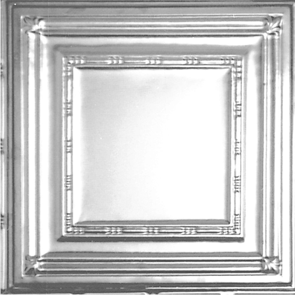 Shanko 2 Feet x 2 Feet Chrome Plated Steel Finish Lay-In Ceiling Tile  Design Repeat Every 24 Inches