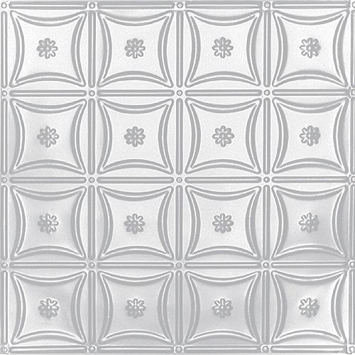 2 Feet X 4 Feet White Finish Steel Nail-Up Ceiling Tile Design Repeat Every 6 Inches