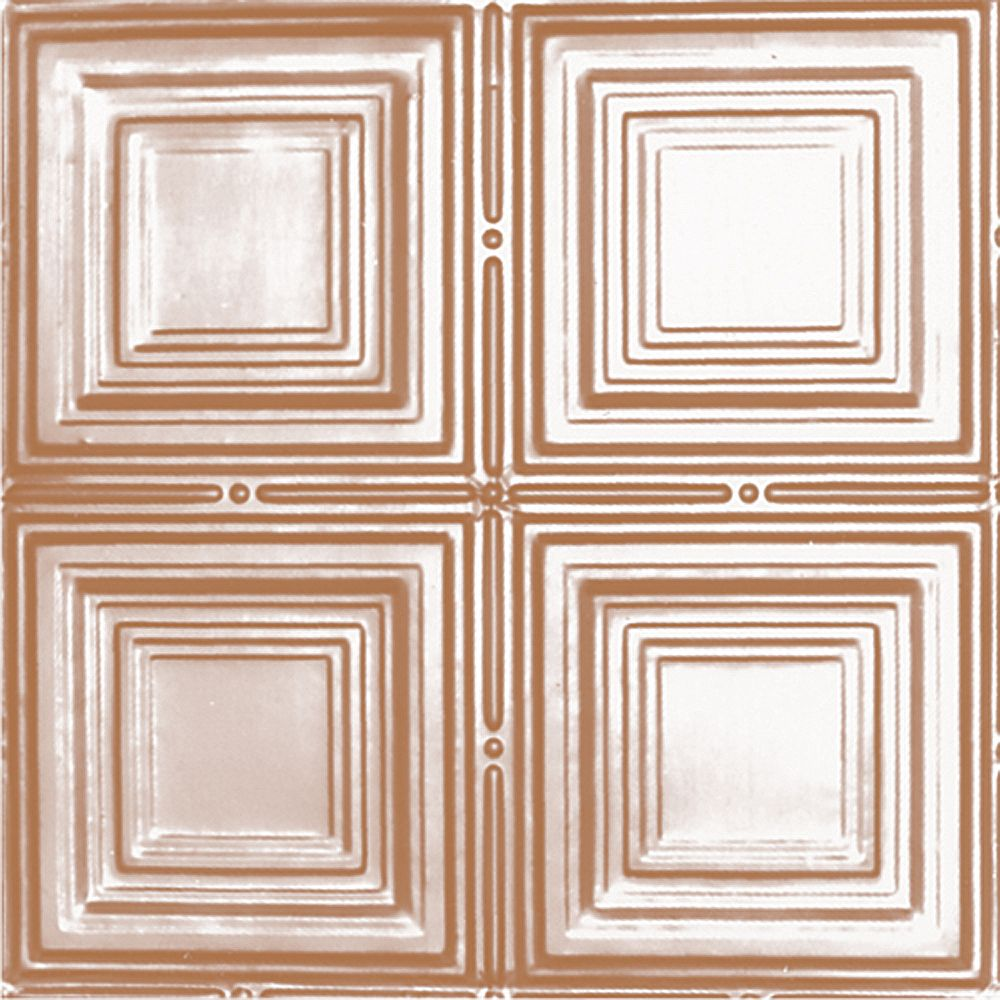 Shanko 2 Feet x 4 Feet Copper Plated Steel Nail-Up Ceiling Tile Design Repeat Every 12 Inches