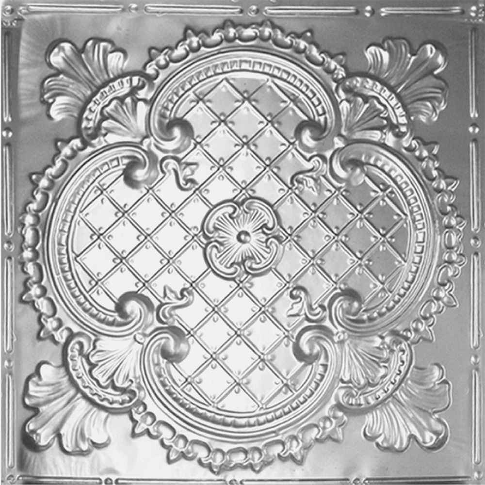Shanko 2 Feet x 4 Feet Steel Silver Nail-Up Ceiling Tile Design Repeat Every 24 Inches