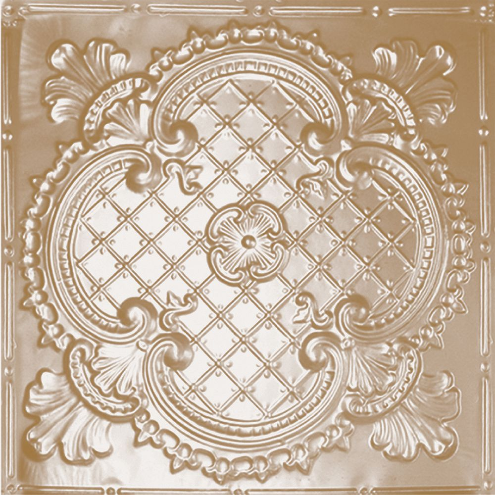 Shanko 2 Feet x 4 Feet Brass Plated Steel Nail-Up Ceiling Tile Design Repeat Every 24 Inches