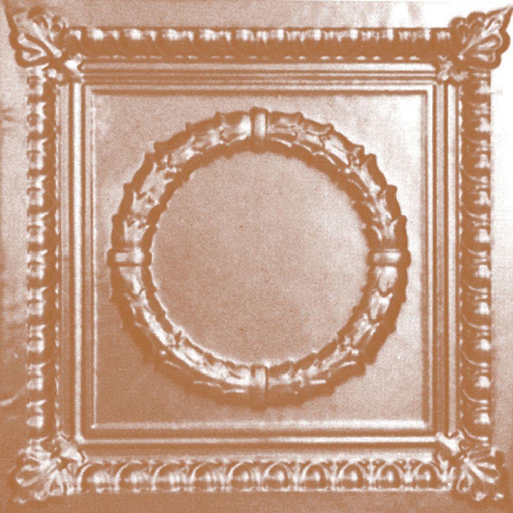 Shanko Carreau de plafond en acier plaqué cuivre à motif répété aux 24 pouces et installation encastrée 2 pi x 2 pi