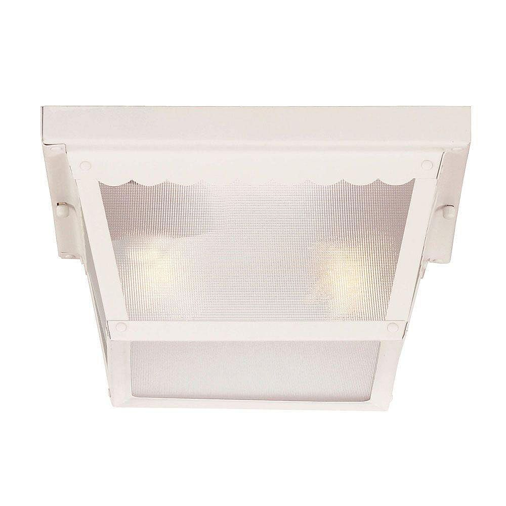 Illumine Satin 2 Light White Incandescent Outdoor Flush Mount With Frosted Glass