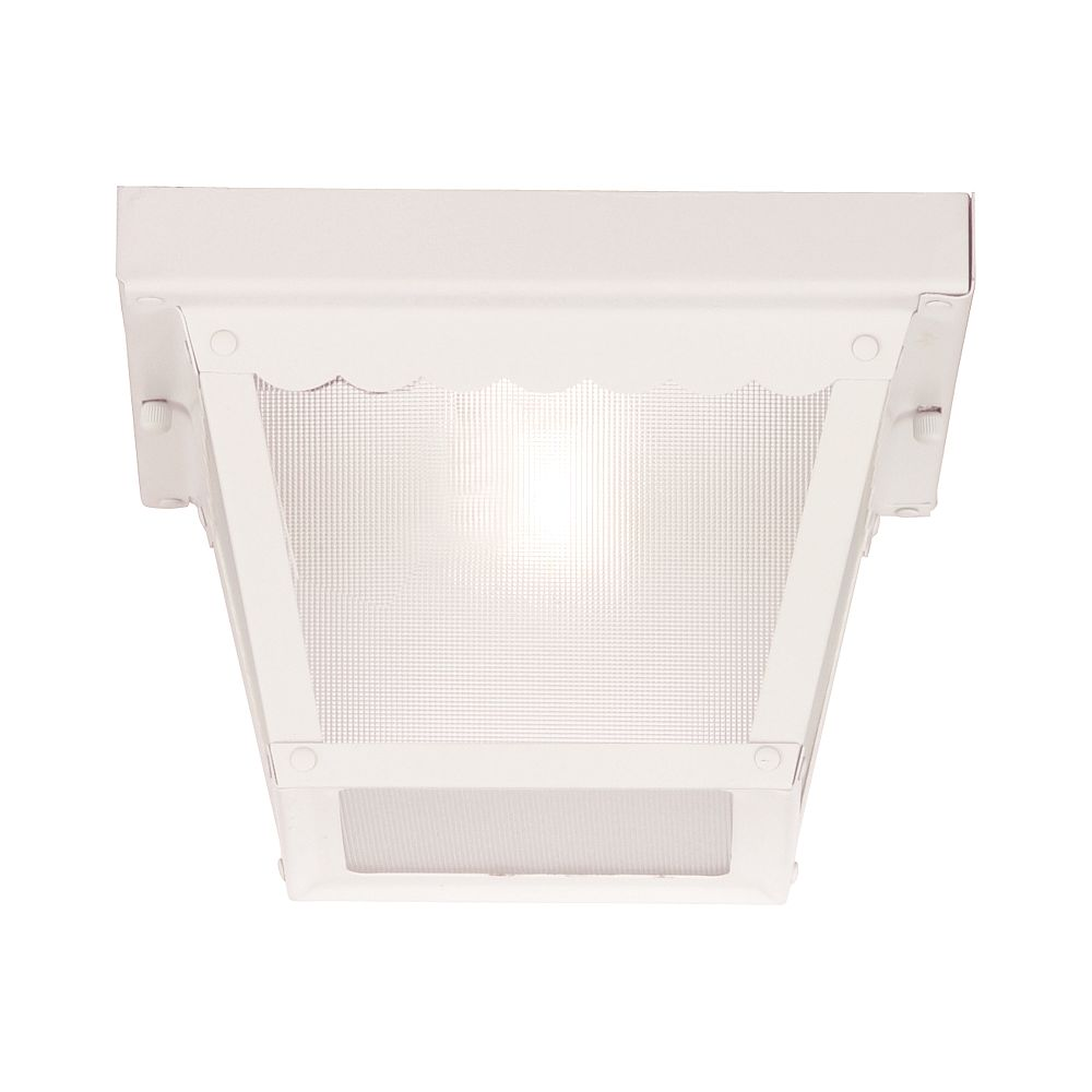 Illumine Satin 1-Light White Outdoor Flush Mount with Frosted Glass