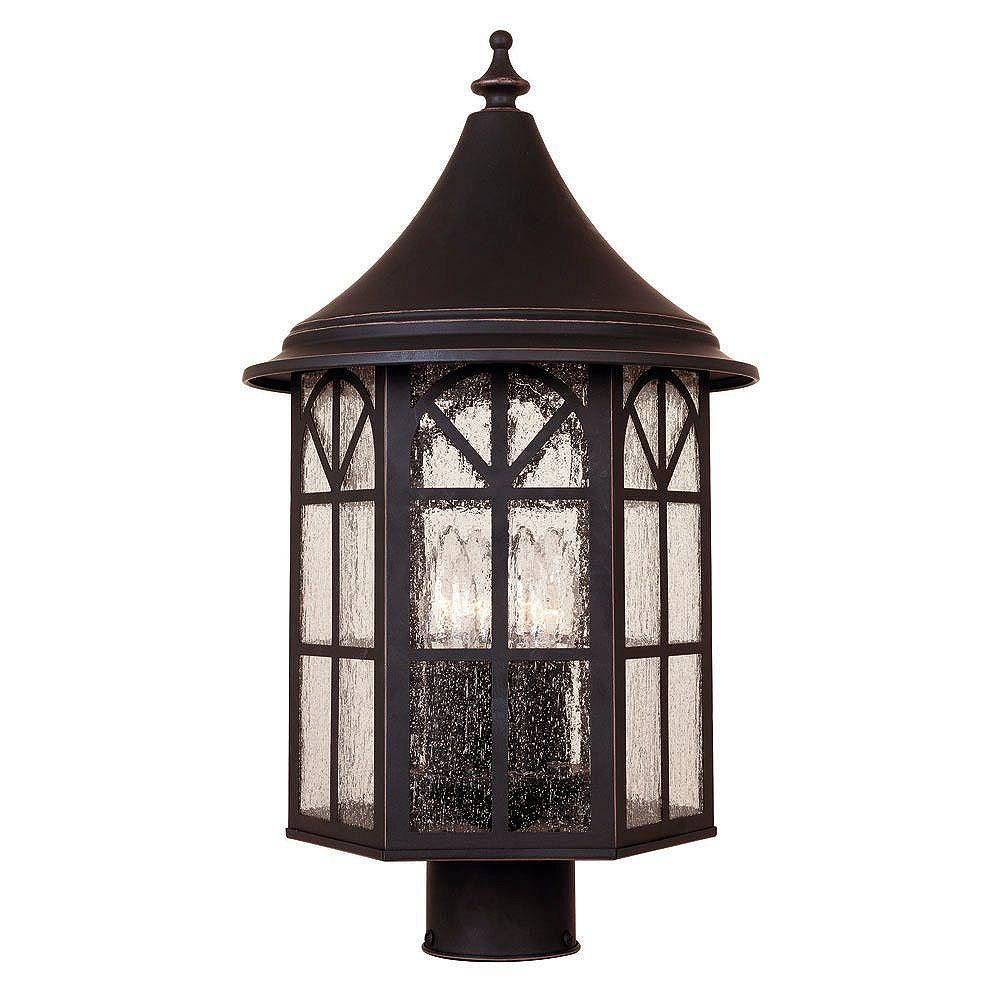 Illumine Satin 4 Light Black Incandescent Outdoor Post Lantern With White Glass