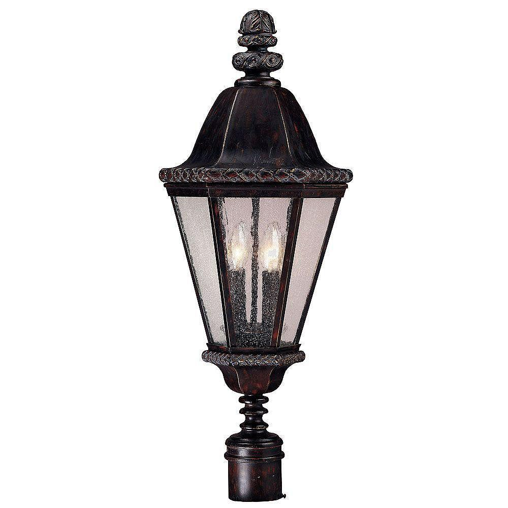 Illumine Satin 4 Light Bronze Incandescent Outdoor Post Lantern With Clear Glass