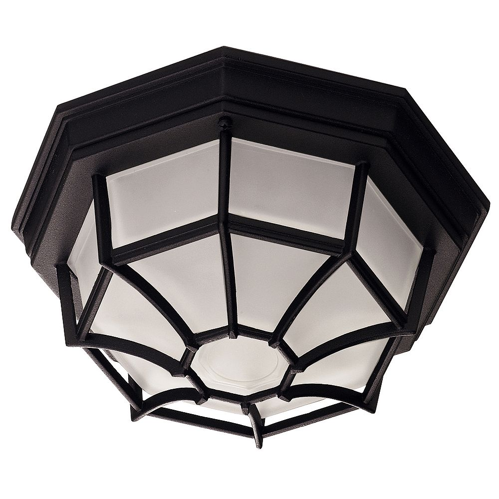 Illumine Satin 1 Light Black Incandescent Outdoor Flush Mount With Frosted Glass