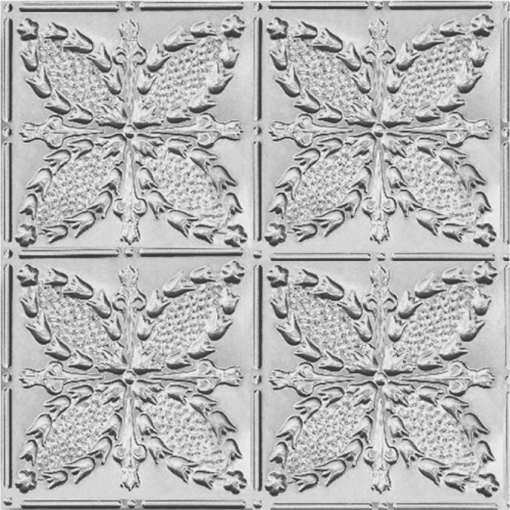 Shanko 2 Feet x 4 Feet Lacquer Steel Finish Nail-Up Ceiling Tile Design Repeat Every 12 Inches