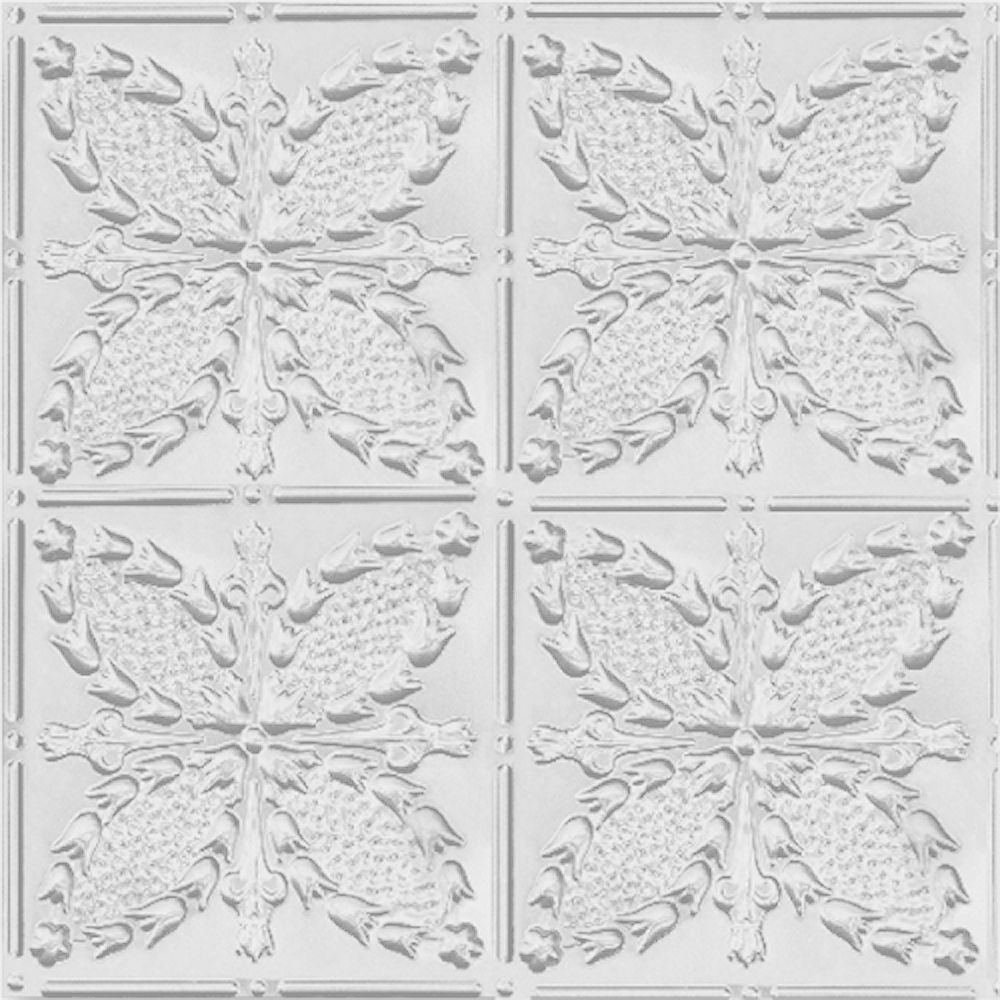 Shanko 2 Feet x 4 Feet White Finish Steel Nail-Up Ceiling Tile Design Repeat Every 12 Inches
