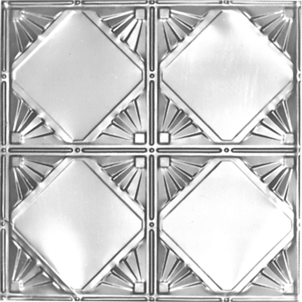 Shanko 2Feet X 4Feet Steel Silver Nail-Up Ceiling Tile Design Repeat Every 12 Inches