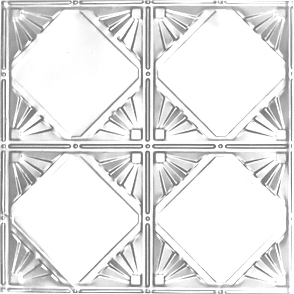 Shanko 2 Feet x 4 Feet Chrome Plated Steel Finish Nail-Up Ceiling Tile Design Repeat Every 12 Inches