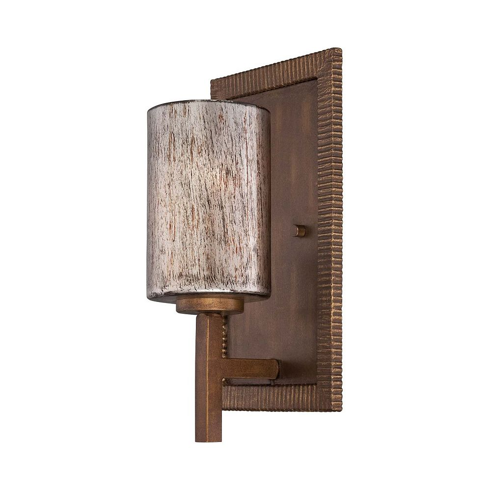 Illumine Satin 1 Light Warm Brandy Incandescent Wall Sconce With Hand Painted Glass