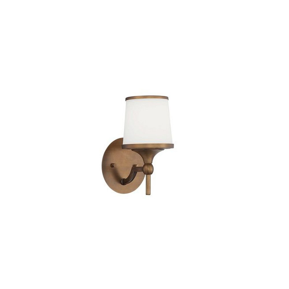 Illumine Satin 1 Light Brass Incandescent Wall Sconce With White Glass