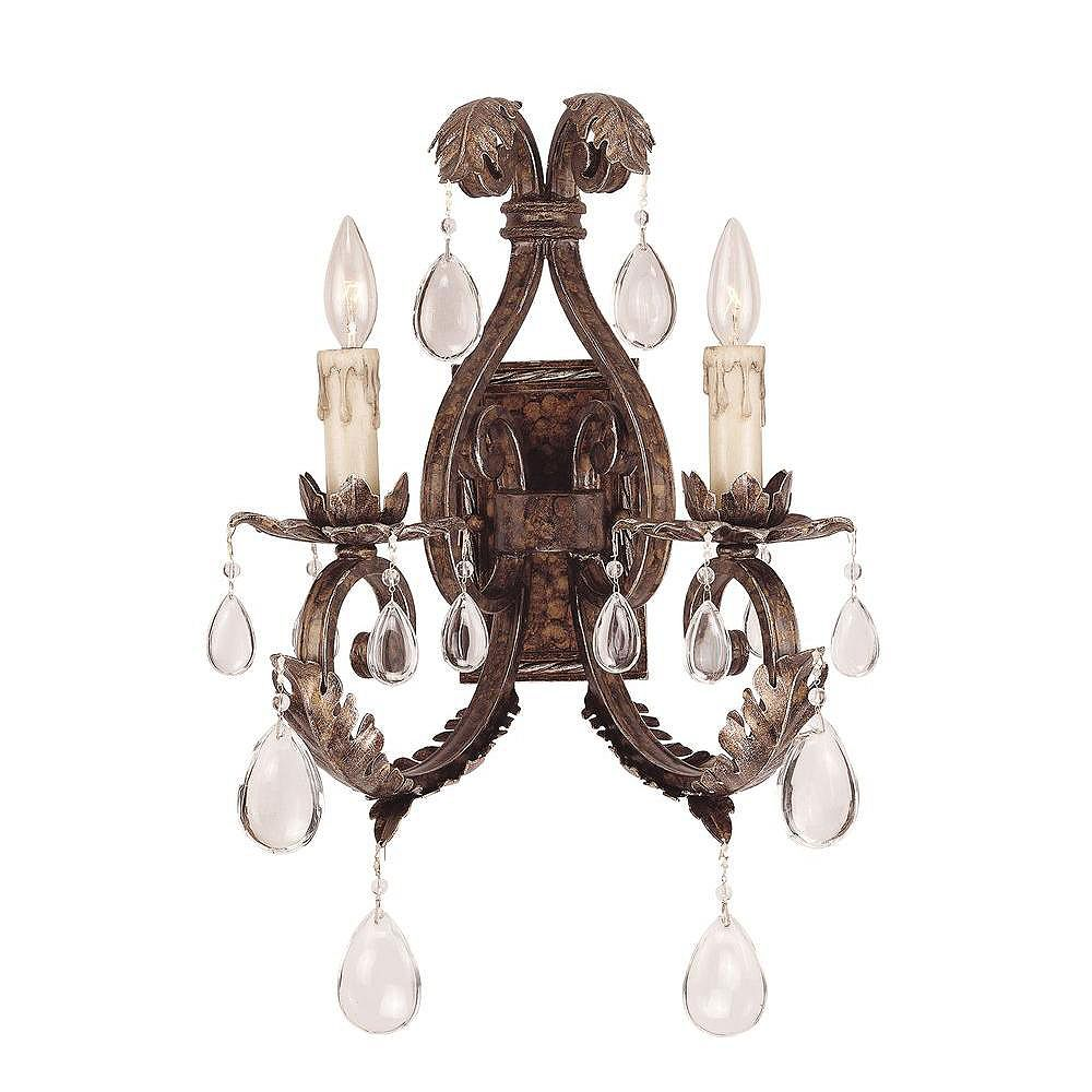 Illumine Satin 2-Light Bronze Wall Sconce with Clear Glass