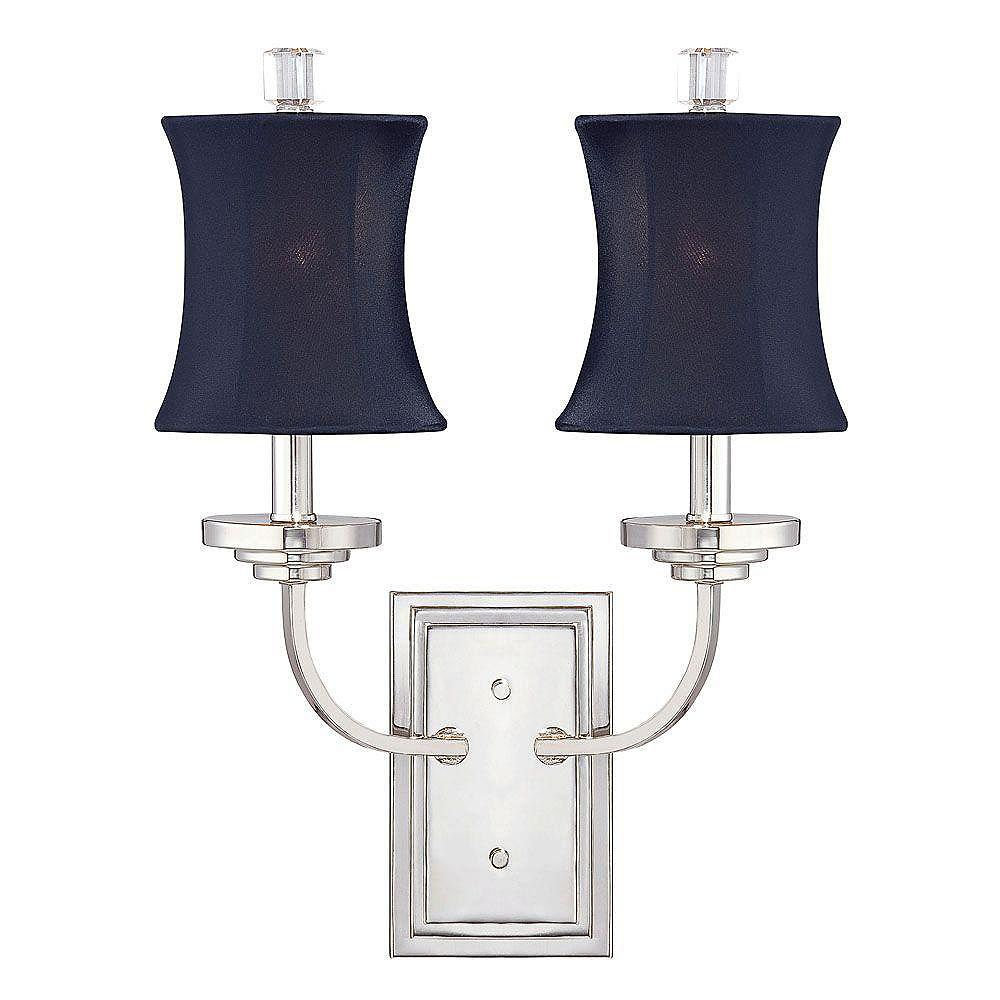 Illumine Satin 2 Light Nickel Incandescent Wall Sconce With Black Shantung Glass