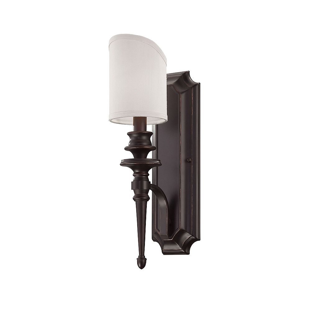 Illumine Satin 1 Light Bronze Incandescent Wall Sconce With White Fabric Shade Glass