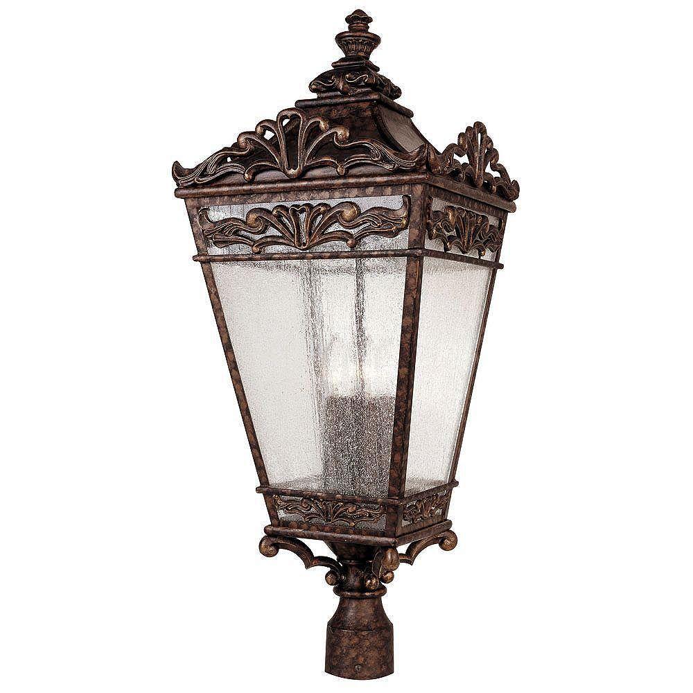 Illumine Satin 4 Light Bronze Incandescent Outdoor Post Lantern With Clear Glass