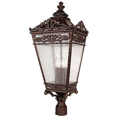 pilier monture lumière avec abat-jour clair couleur en bronze