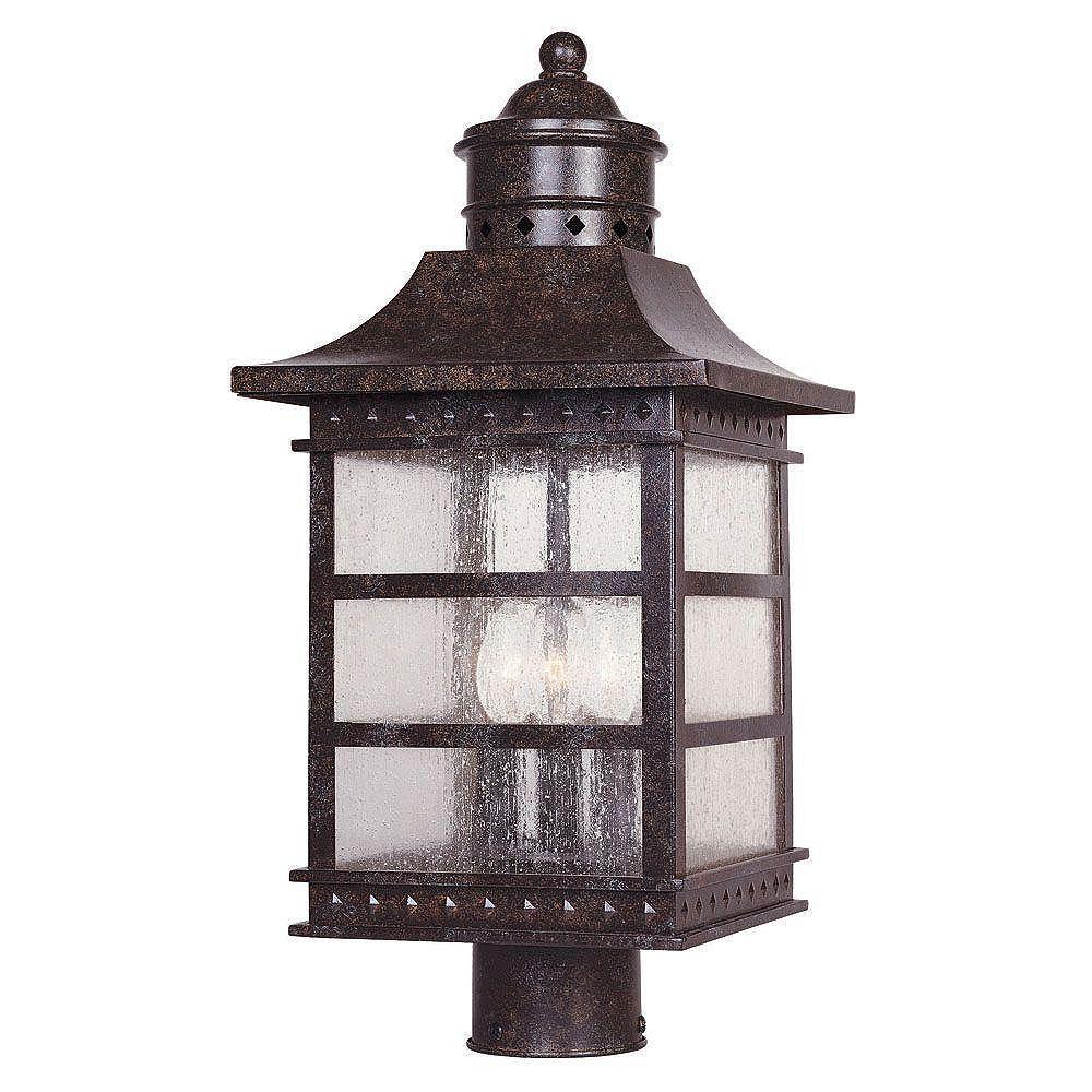 Illumine Satin 3 Light Bronze Halogen Outdoor Post Lantern With White Glass